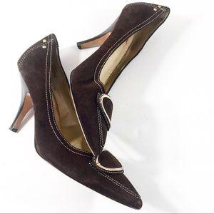 Size 9M Oscar dela Renta Brown Suede Heels
